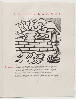 """""""les saisons,"""" pg. 135, in the book Calligrammes by Guillaume Apollinaire (Paris: Librairie Gallimard, 1930)"""