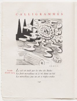 """la nuit d'avril 1915,"" pg. 140, in the book Calligrammes by Guillaume Apollinaire (Paris: Librairie Gallimard, 1930)"