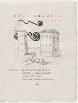 """""""la grâce exilée,"""" pg. 145, in the book Calligrammes by Guillaume Apollinaire (Paris: Librairie Gallimard, 1930)"""
