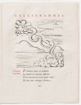 """la boucle retrouvée,"" pg. 147, in the book Calligrammes by Guillaume Apollinaire (Paris: Librairie Gallimard, 1930)"