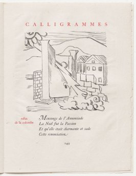 """refus de la colombe,"" pg. 149, in the book Calligrammes by Guillaume Apollinaire (Paris: Librairie Gallimard, 1930)"