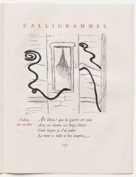 """l'adieu du cavalier,"" pg. 157, in the book Calligrammes by Guillaume Apollinaire (Paris: Librairie Gallimard, 1930)"