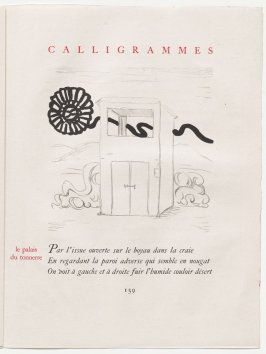 """le palais du tonnerre,"" pg. 159, in the book Calligrammes by Guillaume Apollinaire (Paris: Librairie Gallimard, 1930)"