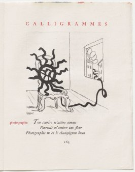 """photographie,"" pg. 165, in the book Calligrammes by Guillaume Apollinaire (Paris: Librairie Gallimard, 1930)"