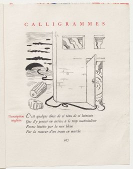 """l'inscription anglaise,"" pg. 167, in the book Calligrammes by Guillaume Apollinaire (Paris: Librairie Gallimard, 1930)"