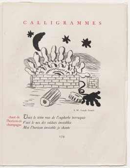 """chant de l'horizon en champagne,"" pg. 179, in the book Calligrammes by Guillaume Apollinaire (Paris: Librairie Gallimard, 1930)"