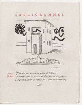 """océan de terre,"" pg. 185, in the book Calligrammes by Guillaume Apollinaire (Paris: Librairie Gallimard, 1930)"