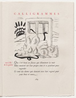 """merveille de la guerre,"" pg. 189, in the book Calligrammes by Guillaume Apollinaire (Paris: Librairie Gallimard, 1930)"