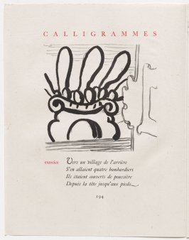 """exercice,"" pg. 194, in the book Calligrammes by Guillaume Apollinaire (Paris: Librairie Gallimard, 1930)"