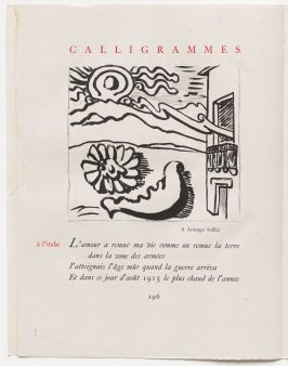 """à l'italie,"" pg. 196, in the book Calligrammes by Guillaume Apollinaire (Paris: Librairie Gallimard, 1930)"