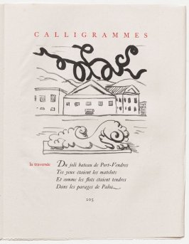 """la traversée,"" pg. 205, in the book Calligrammes by Guillaume Apollinaire (Paris: Librairie Gallimard, 1930)"