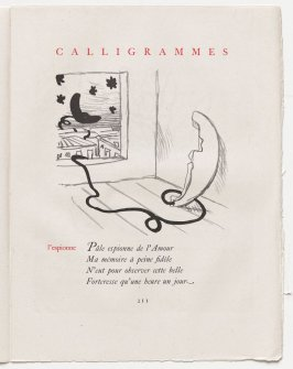 """""""l'espionne,"""" pg. 211, in the book Calligrammes by Guillaume Apollinaire (Paris: Librairie Gallimard, 1930)"""