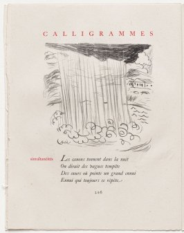 """simultanéités,"" pg. 216, in the book Calligrammes by Guillaume Apollinaire (Paris: Librairie Gallimard, 1930)"