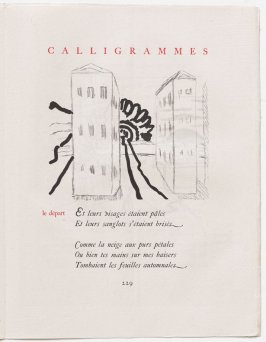 """le départ,"" pg. 229, in the book Calligrammes by Guillaume Apollinaire (Paris: Librairie Gallimard, 1930)"
