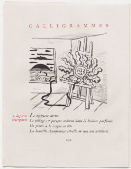 """le vigneron champenois,"" pg. 230, in the book Calligrammes by Guillaume Apollinaire (Paris: Librairie Gallimard, 1930)"