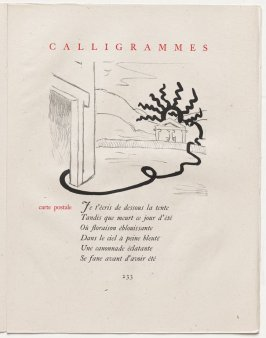 """carte postale,"" pg. 233, in the book Calligrammes by Guillaume Apollinaire (Paris: Librairie Gallimard, 1930)"