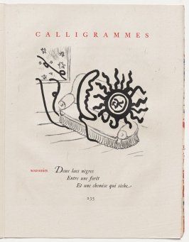 """""""souvenirs,"""" pg. 235, in the book Calligrammes by Guillaume Apollinaire (Paris: Librairie Gallimard, 1930)"""