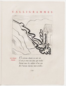 """un oiseau chante,"" pg. 239, in the book Calligrammes by Guillaume Apollinaire (Paris: Librairie Gallimard, 1930)"