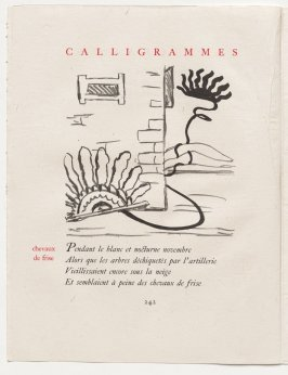 """chevaux de frise,"" pg. 242, in the book Calligrammes by Guillaume Apollinaire (Paris: Librairie Gallimard, 1930)"