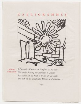 """""""tristesse d'une étoile,"""" pg. 254, in the book Calligrammes by Guillaume Apollinaire (Paris: Librairie Gallimard, 1930)"""