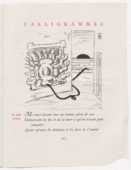 """""""la jolie rousse,"""" pg. 263, in the book Calligrammes by Guillaume Apollinaire (Paris: Librairie Gallimard, 1930)"""