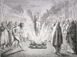 [Man being burned at the stake]