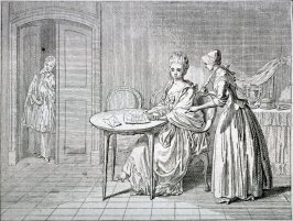 [Two women looking at a letter]