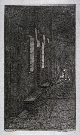 The snowman; nocturnal street scene with a male figure walking past the snowman in background; illustration to Matthias Claudius, 'Asmus omnia sua secum portans oder Sämmtliche Werke des Wandsbecker Bothen' (published by the author, Wandsbeck, 1783)