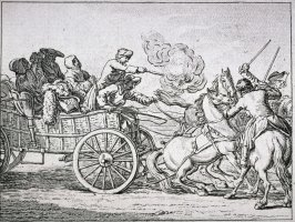 [Men in carriage shooting at the enemy]