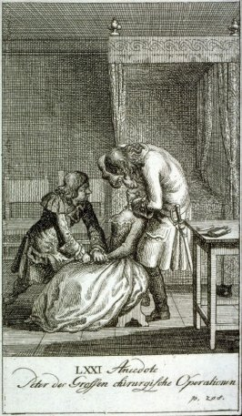 Peter the Great as surgeon, operating on a woman