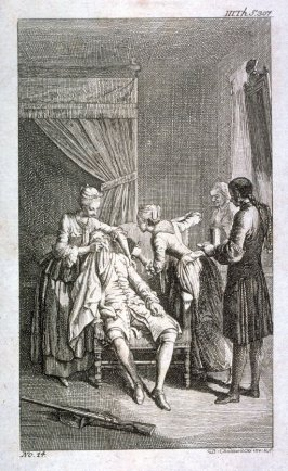 [Servants tending to a seated man]