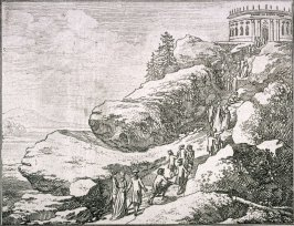 [Procession to a temple at the top of a hill]