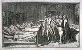Four sick men in bed, a group of physicians in room