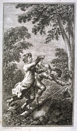 Two men, one supporting the other in flight in wood