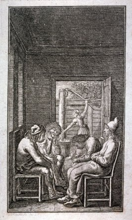 Indoors, four men seated, women at water pump in background