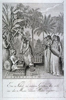 A Nabob in his garden, entertained by his wives playing musical instruments