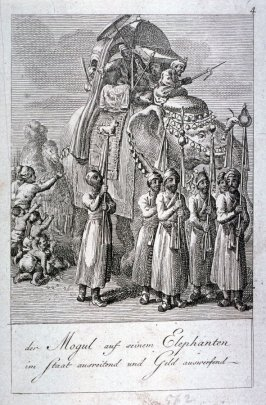 A Mogul on his elephant, riding in state, distributing gold