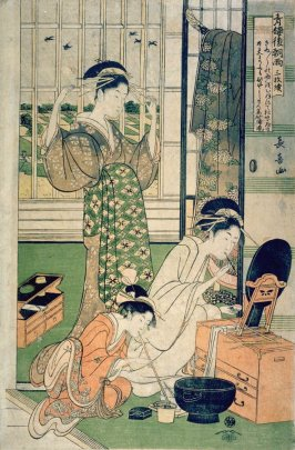 Two Courtesans and a Maid) , right panel from the triptych, Rain after Parting at the Yoshiwara (Seiro kinuginu no ame sammaitsuzuki)