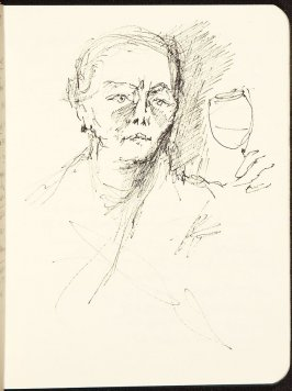 Illustration 9 (Portrait of M.F.K. Fisher) in the book Sketchbook (MFK Fisher and Mary Anthony)