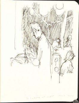 Illustration 5 (Le Lutetia at night, Paris, 1984)in the book Sketchbook (Jenny Jacquet)