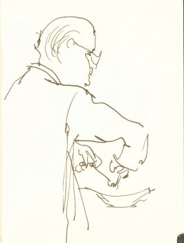 Untitled (Man cooking), Illustration 3 in the book Sketchbook (Sun Valley, Idaho, and Paris)