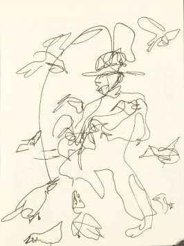 Untitled (Figure with birds), Illustration 2 in the book Chinatown Sketching Trip with my Workshop, San Francisco (sketchbook)