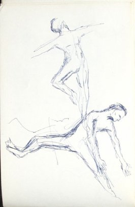 Tom Two Arrows and dancers, Illustration 8 in the book Sketchbook (Mary Anthony, Brooklyn College)