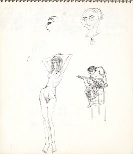 Untitled (Artist drawing nude), Illustration 7 in the book Sketchbook (Paris)