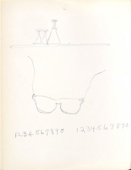 Untitled (Glasses and numbers), Illustration 26 in the book Sketchbook (Washington and New York)