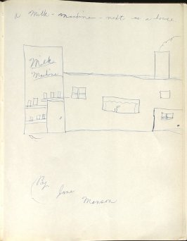 A Milk Machine Next To A House, By Jane Manson, Illustration 38 in the book Sketchbook (Washington and New York)