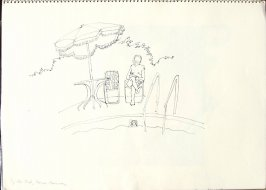 By the Pool, Casa Munras, Illustration 13 in the book Sketchbook (San Francisco)