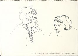 Liesel Rosenthal and Bernice Kussoy at Clancy Show, Illustration 5 in the book Sketchbook (San Francisco)