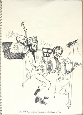 John Handy, Raphael Garrett, and Michael White, Illustration 11 in the book Sketchbook (Synanon Street Scene)