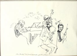 John Hardy and Concert Ensemble at Stern Grove, Illustration 12 in the book Sketchbook (Synanon Street Scene)